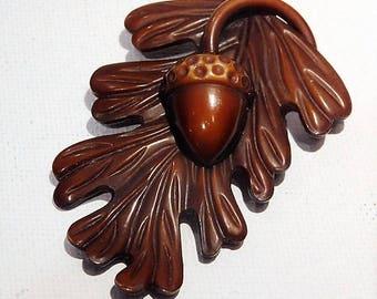 1940s Acorn Leaf Celluloid Fur Dress Clip / Celluloid Fur Dress Clip / Art Deco Celluloid Fur Dress Clip