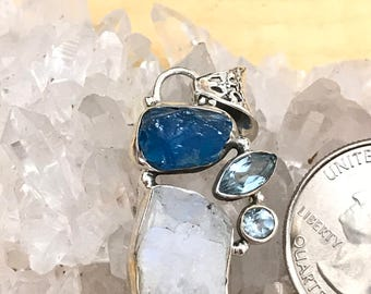 Apatite, Moonstone,  and Blue Topaz Pendant Necklace