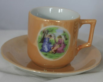 Antique Carnival Glass Demitasse Set of 5 - Lovers (Occupied Japan)