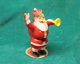 Vintage E Rosen Rosbro Celluloid SANTA with HORN Candy Dispenser plastic Santa trumpet on cardboard maker's label