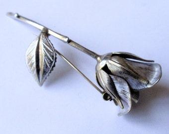 Vintage Rose Pin Brooch, Silver Tone Single Stem Rose Flower Brooch, Silver Tone Brushed Metal Rose & Leaves Figural Floral Pin,Gift For Her