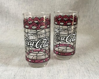 Vintage Coca Cola Stained Glass Style Glasses, Set of 2, Collectible 16 Ounce Coke Glasses