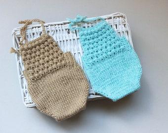 Twin newborn PROPS, Beige bodysuit, Soft blue bodysuit, Baby boy, baby girl backless bodysuit, Baby twin set, Newborn Props, Code:Karol-01
