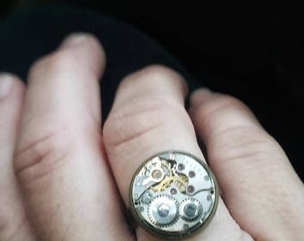 SALE!!! Steampunk Ring, Watch  Ring, Adjustable Steampunk Ring, Watch Movement Jewelry, Steampunk Jewelry, Time Travel Ring, Industrial Ring