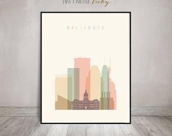 Baltimore poster, print, Wall art, Baltimore skyline, Maryland art, City poster, Typography art, Home Decor, Travel gift, ArtPrintsVicky