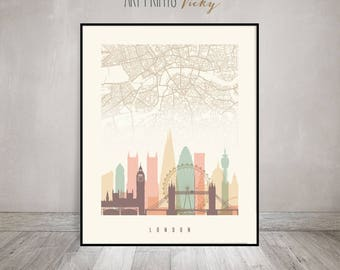 London City Map Print Skyline Poster | ArtPrintsVicky.com