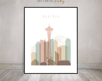 Seattle Art Print Skyline Poster Pastel by ArtPrintsVicky.com