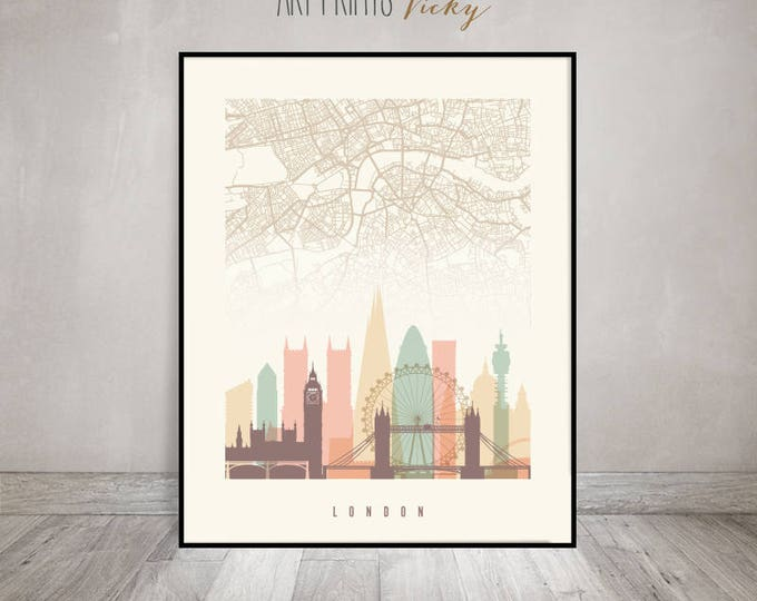 London map, London skyline print, London poster, wall art, England, Great Britain, City prints, Home Decor, Gift, Travel, ArtPrintsVicky