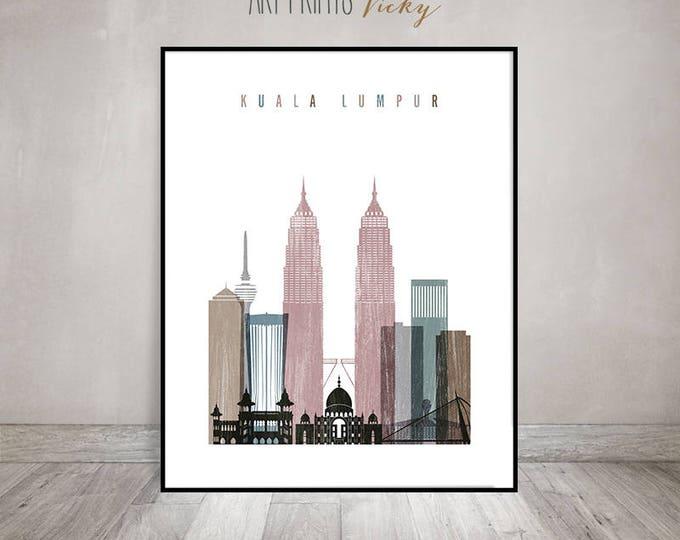 Kuala Lumpur art print, Kuala Lumpur skyline, Poster, Wall art, Travel gift, Malaysia, City print, Home Decor, distressed, ArtPrintsVicky