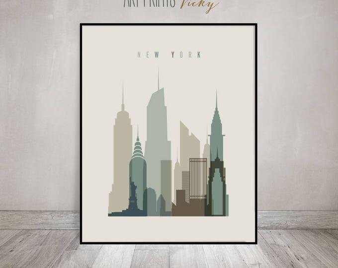 New York art print, Poster, New York skyline, Travel Wall art, NYC Cityscape, City poster, Typography art, Gift, Home Decor, ArtPrintsVicky