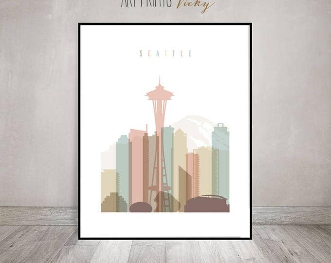 Wall art Seattle print, Seattle skyline poster, Travel decor, wall decor, housewarming gift, travel decor, cityscape art, ArtPrintsVicky