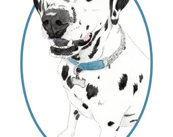 Custom Pet Portrait-Custom Dog Illustration-Giclee Print-Pet Gift- Wall-Dog Lover-Gift- Memorial-Dog Portrait-custom made