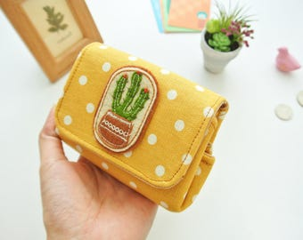 Cactus Lovers Ladies Coin Purse - Rustic Scheme, Vegan Coin Wallet, Change Purse, Small Wallet Purse, Card Pouch, Cash Wallet, Gift for Her