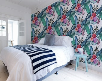 Tropical Wallpaper for your Home or Office, Self Adhesive and Paste & Glue Materials, Pink, Grey, Red and Purple Wall Decor