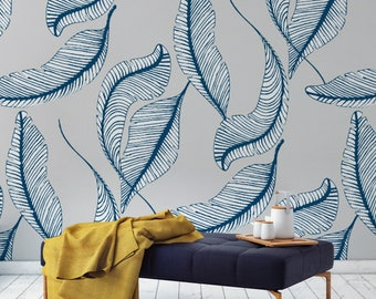 Banana Leaf Wallpaper, Self Adhesive or Paste & Glue Wallpaper, Various Colours Available