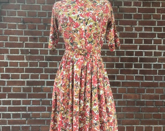 1950's orange, red, brown floral dress small, vintage dress, sundress, summer dress, cotton dress, butterfly dress, fit and flare