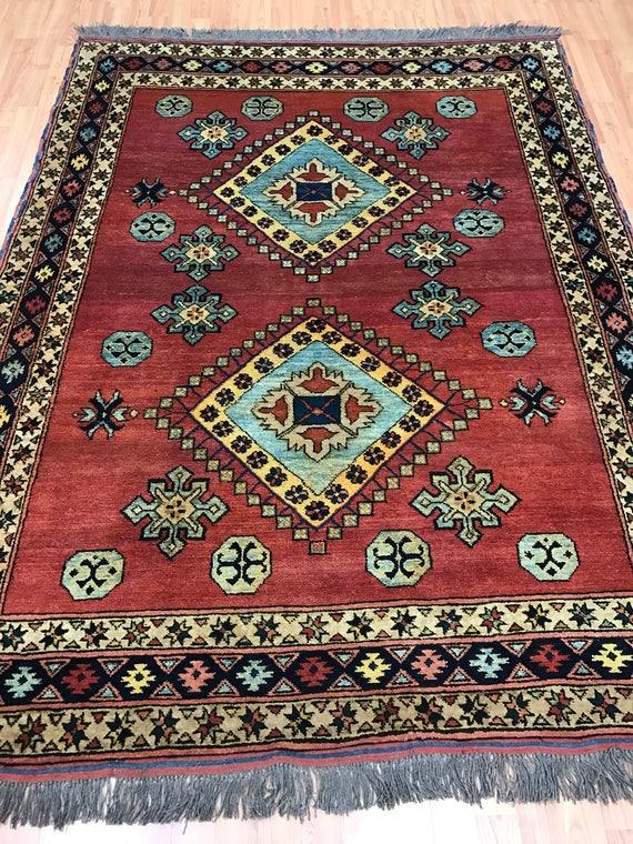 "4'8"" x 6'1"" Pakistani Kazak Oriental Rug - Hand Made - 100% Wool - Vegetable Dye"