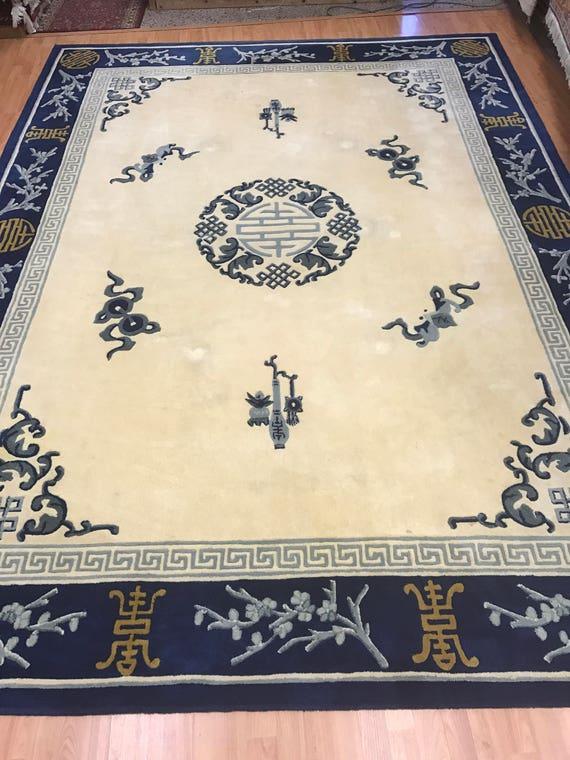 "8'6"" x 11'6"" Chinese Art Deco Oriental Rug - Hand Made - 100% Wool"