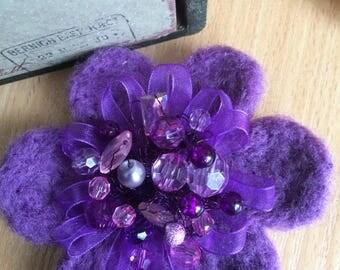 Felted Brooch, Purple Flower Brooch, Handmade Felt Brooch, Winter Accessory, Gift For Her, Girl Women Accessory, Wool Jewelry