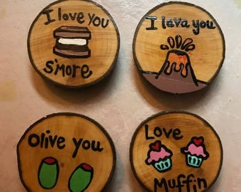 Valentine Pun Magnets, Gift Idea, Gift Under 15, Wood Magnets