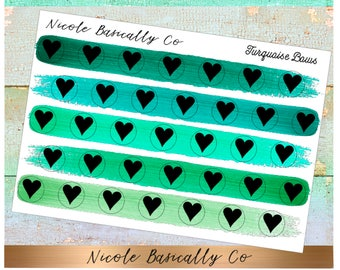 Heart Icons in Turquoise Paint Stroke Colors- Planner Stickers