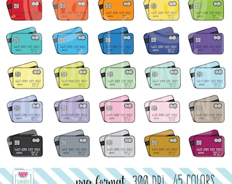 45 Doodle Credit Card Clipart. Personal and comercial use.
