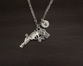 Pistol with Rose Necklace - Cowgirl - Country Living Gift - Marksman Necklace - Gun Necklace - Western Themed Gift - I/B/H