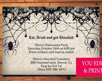 Halloween Invitation, Halloween Party Invitation, Eat Drink Get Ghoulish, Halloween Party, Halloween, Halloween Invite, You Edit PDF
