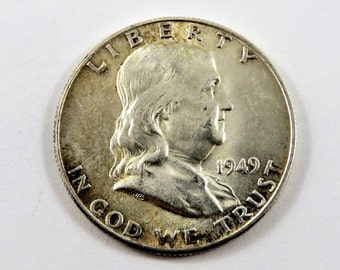 U.S 1949 Franklin Silver Half Dollar.