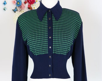 1980s Does 60s Cropped Vintage Sweater - Small/Medium - Sporty - Long Sleeve - Knit - Short Cardigan - Navy Blue Green - Made In Sweden