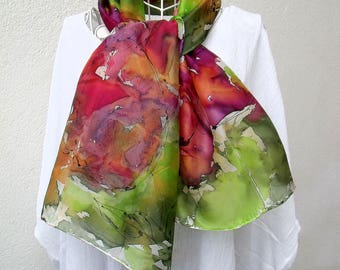 """Handpainted silk scarf """"to the happiness of the ladies"""""""