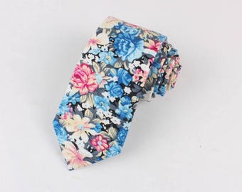 Retro Floral Skinny Tie 2.36"