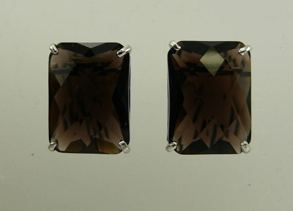 Smokey Topaz Rectangle Shape Earring with Sterling Silver Omega Backs