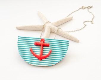 Anchor Necklace, Nautical Necklace, Anchor Necklace Women, Blue White Red, Anchor Jewelry, Anchor Pendant, Sailor Necklace, Beach pendant