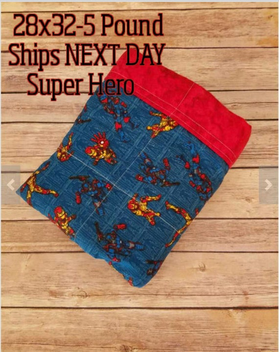 Super Hero, 5 Pound, WEIGHTED BLANKET, 5 pounds. 28x32, for Autism, Sensory, ADHD, Calming, Alzheimer's, Anxiety