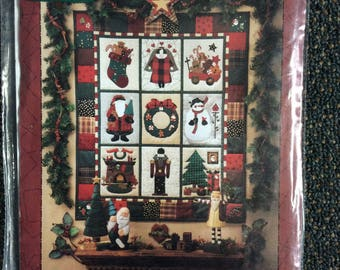 """Christmas quilt pattern Visions of Christmas  Mumm 1994  Mumm's The Word 31"""" x 37"""" holiday quilt"""