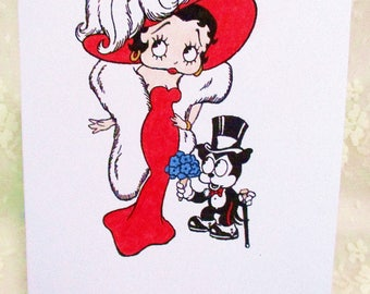 Betty Boop and Felix the Cat Card: Add a Greeting or Leave Blank