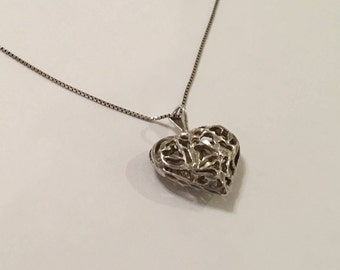 Antique Vintage Sterling Silver Puffy Heart Pendant Necklace, with long chain