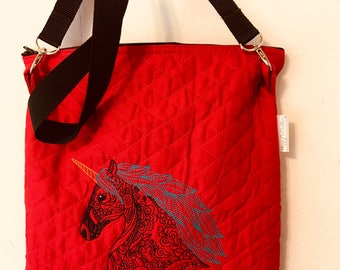 Unicorn messenger bag, quilted purse, red bag, embroidered unicorn purse, light weight purse, iPad case