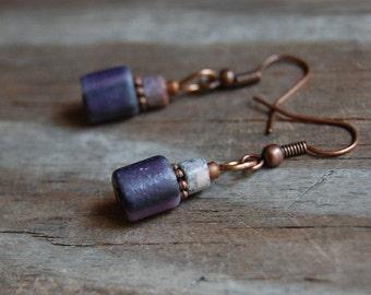 Antiqued Copper with Pink Line Jasper & Purple Fluorite Minimalist Dangle Earrings