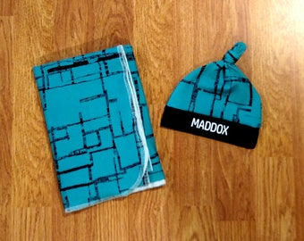 Personalized Baby Boy Swaddle Set, blanket, knotted hat, shower gift, hospital gift, navy, turquoise, newborn, preemie, photo prop, custom