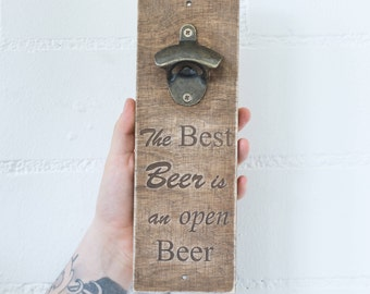 Wall Bottle Opener Bar Sign Gift Gift for him Wooden Bottle Opener Wall mount bottle Wooden Opener Engraved Wood beer Opener Men Gift
