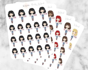 J24 No Spend Stickers, Character Stickers, Planner Stickers, Planner Girl Stickers, No spend, Money stickers, Finance Stickers, save money,
