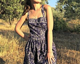 Summer Dress - Organic Cotton - Indigo Dress - Eco-Friendly Cotton Dress - Sarafan - Beach wear - Open back dress