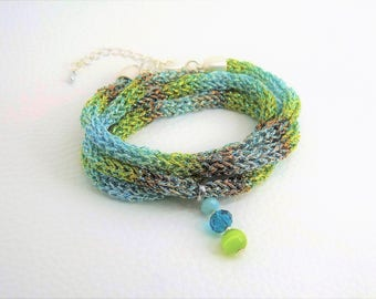 Knitted Wrap bracelet-glitter-colors of the sea-knitted-viscose-gift-