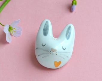 Adorable Tiny Bunny Pin. Animal Lover Gift. White Rabbit. Baby Bunny. Cute Jewelry. Kawaii. Handcrafted. Lovable Jewelry.