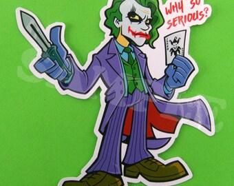 Joker The Dark Knight ECONOMY Vinyl Sticker - Die Cut Decal for Laptop, Skateboard, Vehicle, and more!