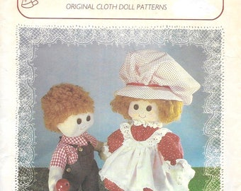 "Rare Vintage DaisyMae Boy & Girl Dolls 16"" Large Cloth Soft Toy Doll Sewing Pattern Strawberry Shortcake Style Doll"