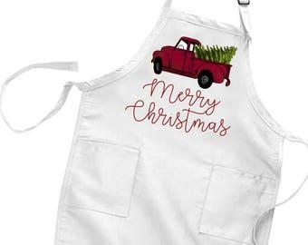 Merry Christmas Apron - Womens Gift - Stocking Stuffer - Baking Gift - Cooking Gift - Christmas Gift for her