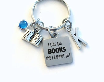 Gift for Friend KeyChain, I like big books and I cannot lie Key Chain, Funny Joke Keyring Initial Birthstone present women her mom Librarian